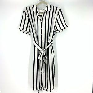 Eloquii black white vertical striped dress size 16